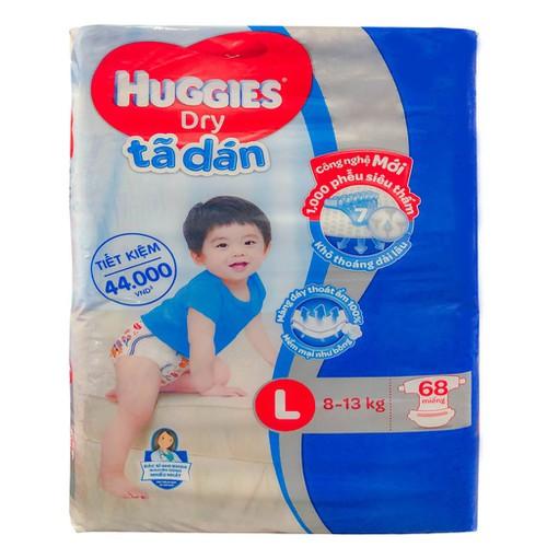 Bỉm - tã dán huggies cỡ l bịch 68 miếng cho bé 8-13 kg