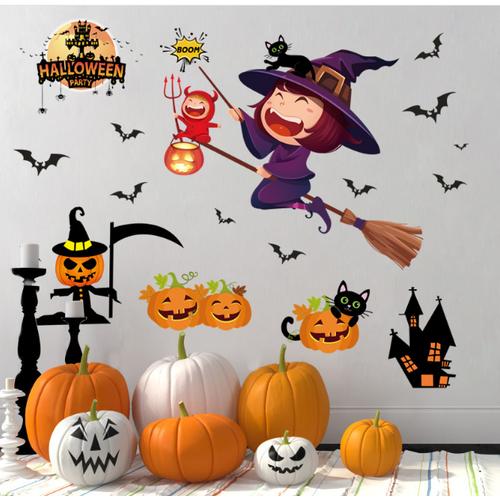 Decal trang trí tường - lễ hội halloween bé gái phù thủy