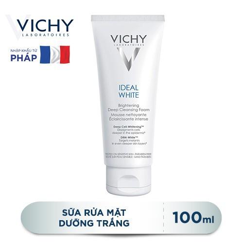 Vichy chính hãng- sữa rửa mặt tạo bọt dưỡng trắng da vichy ideal white brightening deep cleansing foam 100ml