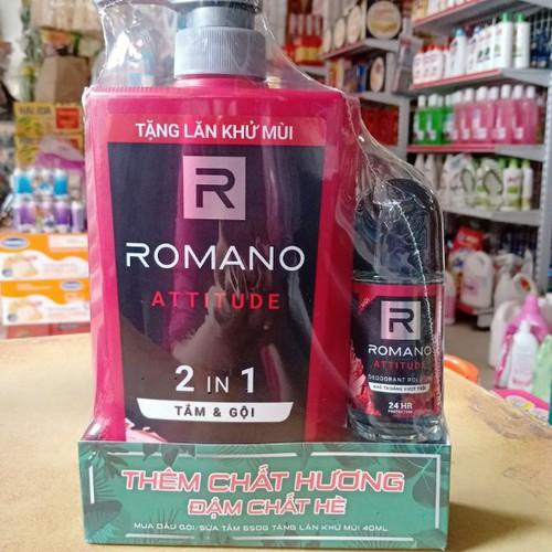 Sp chính hãng  dầu gội romano attitude hương nước hoa 650g tặng lăn khử mùi 40ml.