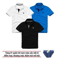 Áo thun nam logo mẫu mới Combo 3 áo Trắng Xanh dương Đen tặng kèm 1 quần lót nam XSAK