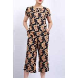 [CHÍNH HÃNG VICCI] Bộ mặc nhà - Bộ lanh nữ - Bộ mặc nhà lanh, tole nhung VICCI BGS.082, thiết kế quần ống sớ phối áo cộc tay in hoạ tiết nhiều màu