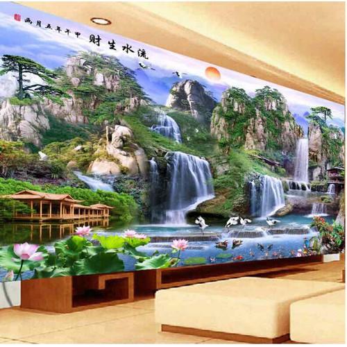 Tranh thêu phong cảnh thiên nhiên hùng vĩ 150x97cm