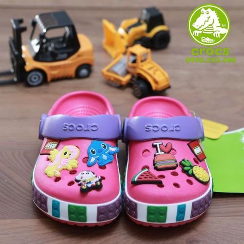 Dép sục crocs. | dép crocs. band lego kid màu hồng tặng 6 jibbitz sticker 2d