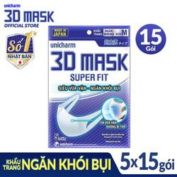 Combo 15 gói Khẩu trang ngăn khói bụi Unicharm 3D Mask Super Fit size M [Ngăn được bụi mịn PM10]  gói 5 miếng
