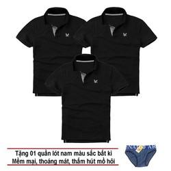Áo thun nam logo mẫu mới Combo 3 áo Đen tặng kèm 1 quần lót nam XSAK