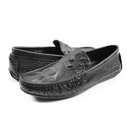 Giày lười nam da bò thật in vân cá sấu gm75