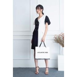 [HÀNG THIẾT KẾ] Đầm công sở phối đen trắng sang trọng lịch sự 2019