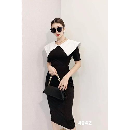 Đầm body đen cổ phối trắng