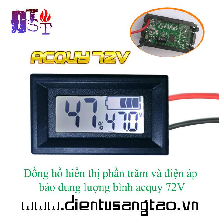 Đồng hồ hiển thị phần trăm và điện áp báo dung lượng bình acquy 72V