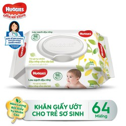 [Tặng Kotex Thảo Dược] Khăn giấy ướt cho trẻ sơ sinh HUGGIES không mùi 64 tờ