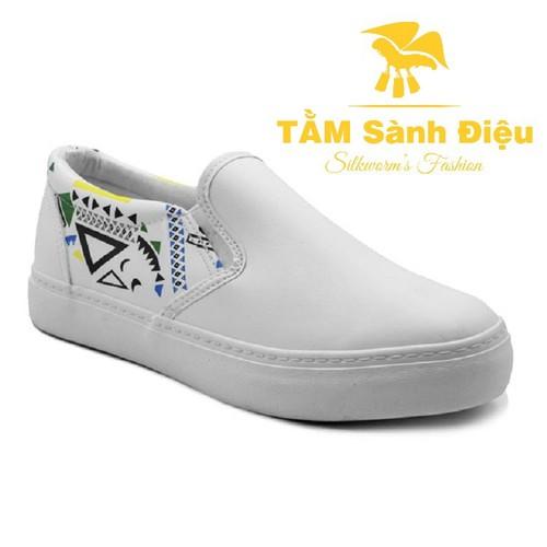 Slip on nữ - Giày lười nữ - Giày mọi nữ TSD S0135 bằng da đế bệt 6030 - đế thấp màu trắng - đế bằng trơn