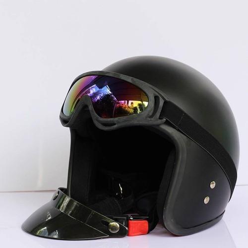 COMBO Mũ bảo hiểm 3 phần 4 + Kính chống tia UV400 - Nhựa ABS Độ Bền Cao - BH 6 Tháng Sử Dụng