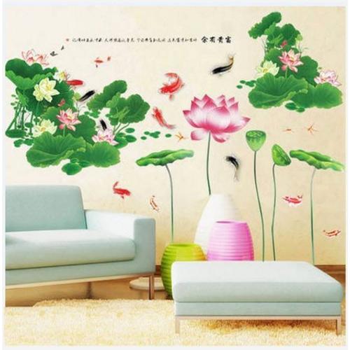 Decal dán tường combo- sen đậm lớn kết hợp sen hồng - 3 tấm