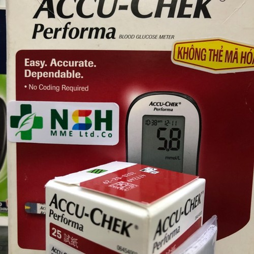 Máy đo đường huyết accu-chek accuchek performa của mỹ tặng kèm 01 hộp test 25 que