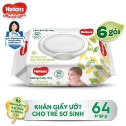 [Tặng Kotex Thảo Dược] Combo 6 Gói Khăn giấy ướt cho trẻ sơ sinh HUGGIES không mùi, gói 64 tờ