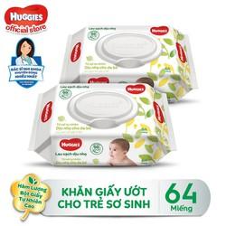 [Tặng Kotex Thảo Dược] Combo 2 Gói Khăn giấy ướt cho trẻ sơ sinh HUGGIES không mùi, gói 64 tờ
