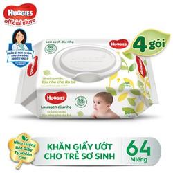 [Tặng Kotex Thảo Dược] Combo 4 Gói Khăn giấy ướt cho trẻ sơ sinh HUGGIES không mùi, gói 64 tờ