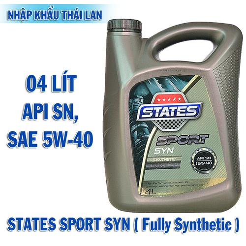 Dầu Nhớt STATES SPORT SYN Fully Synthetic  4 lít Động cơ xăng Thái lan