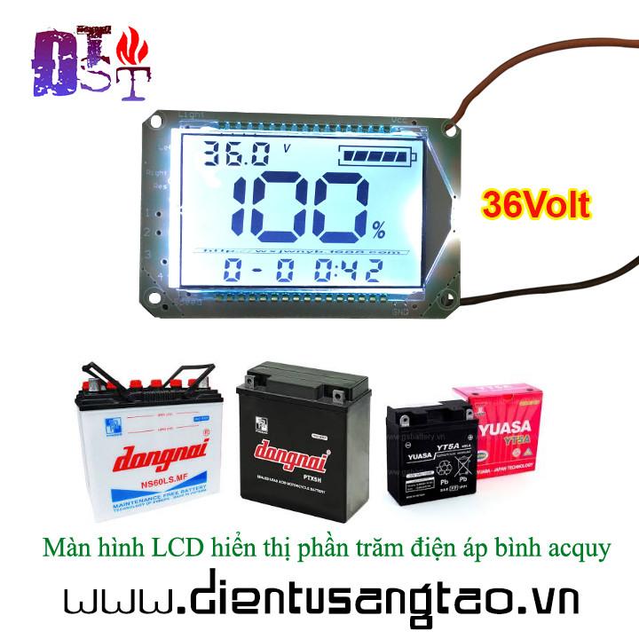 Màn hình LCD hiển thị thời gian và phần trăm điện áp bình acquy 36v