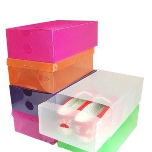 Set 2 hộp đựng bảo vệ giày nhiều màu trong suốt bằng nhựa dẻo cao cấp