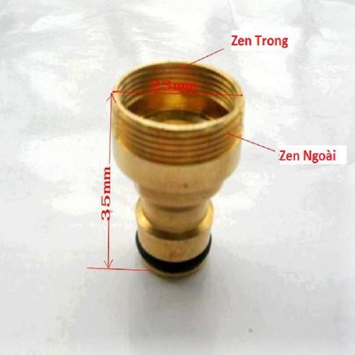 Đầu nối 2 in 1 zen trong-zen ngoài 23mm ra khớp nối nhanh - đồng thau - 000550