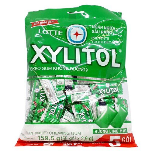 Kẹo gum không đường xylitol hương lime mint gói 159.5g