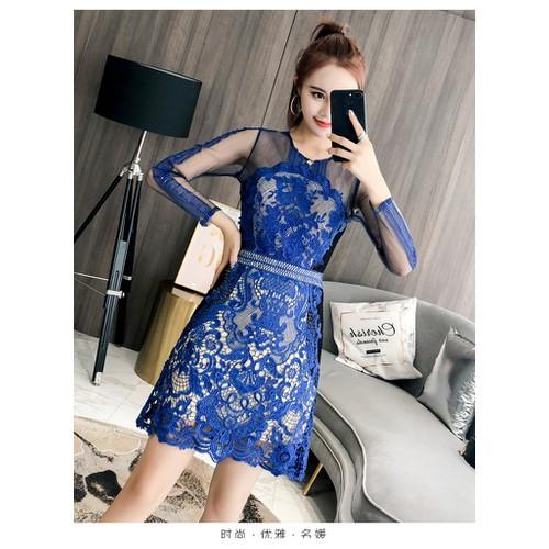 Đầm ren ôm dài tay chữ a nữ thời trang cao cấp