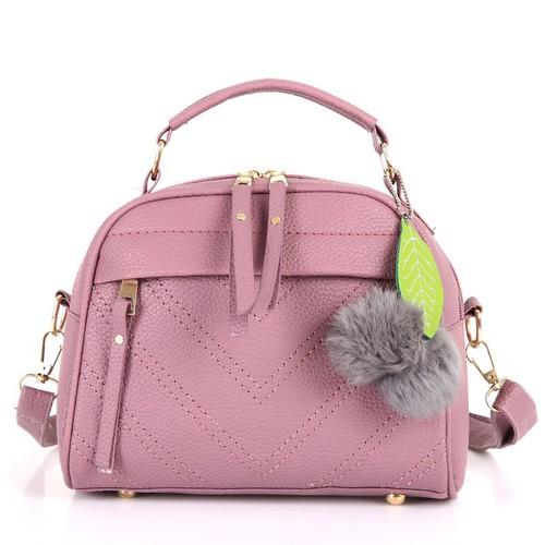 Túi xách nữ công sở at12 da pu bền đẹp chống thấm nước bạc màu, thiết kế đơn giản tinh tế 2 màu đen tím pastel thanh lịch [tặng móc khóa bông]