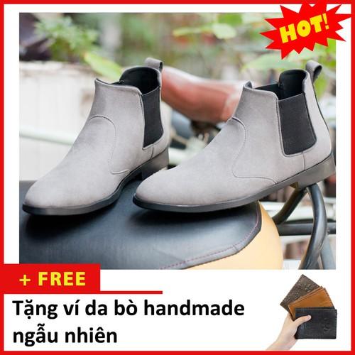 Giày chelsea boot nam cổ chun da búc xám - shop giày nam aroti- đế chắc chắn- mẫu thiết kế trẻ trung- phong cách - hợp thời trang, dễ phối với nhiều loại trang phục, luôn đảm bảo về chất lượng và giá