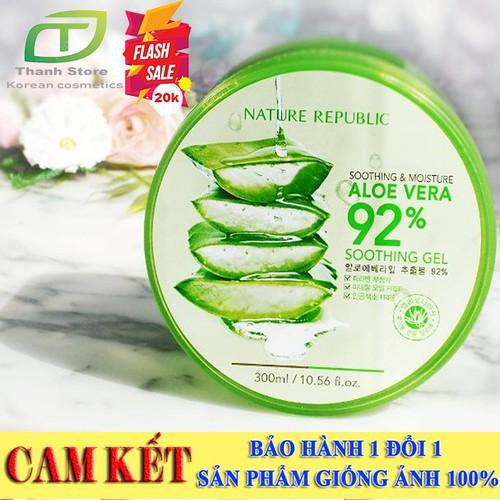 Gel nha đam làm đẹp đa công dụng aloe vera 92 300ml-kem dưỡng trắng da dùng cho cả body và mặt, mask gel nha đam,gel nha đam 92