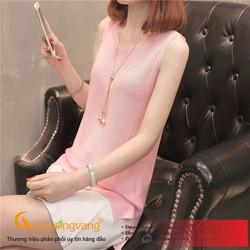 Áo ba lỗ nữ dệt kim màu hồng áo ba lỗ mùa hè Queenbe GLA189