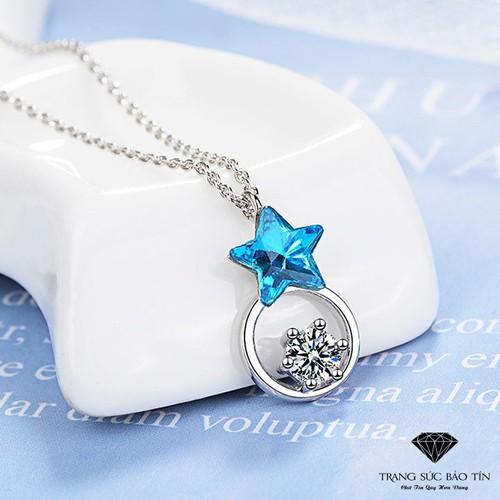 Dây chuyền sao xanh dương tròn đá trắng chất liệu cao cấp thương hiệu bảo tín