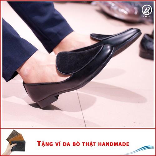 Giày Lười Nam Đẹp Đế Khâu Da Nhung +ví+ M430-LC