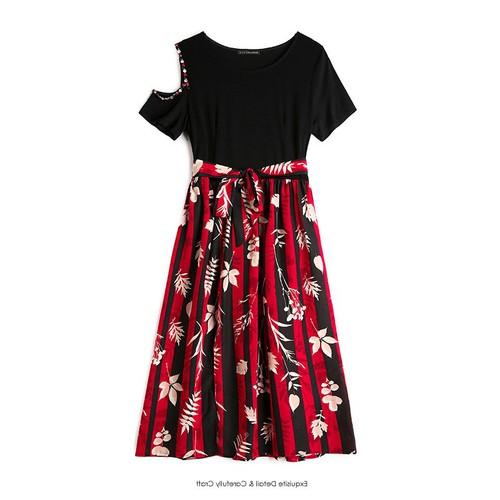 Hàng nhập - đầm xòe phối chân váy hoa tay kết hạt cutout - svgt2169
