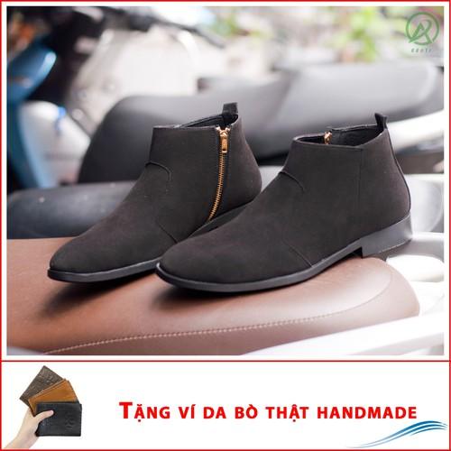Giày chelsea boot cổ khóa tiện lợi da búc đen - shop giày nam aroti- đế chắc chắn - mẫu thiết kế trẻ trung- phong cách - hợp thời trang, dễ phối với nhiều loại trang phục, luôn đảm bảo về chất lượng v