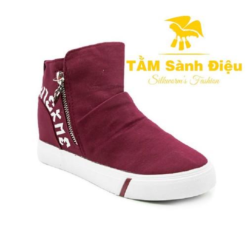 Slip on nữ - giày lười nữ - giày mọi nữ tsd s0257 bằng vải đế bệt 8754 - đế thấp màu đỏ - đế bằng phối khóa kéo cổ cao