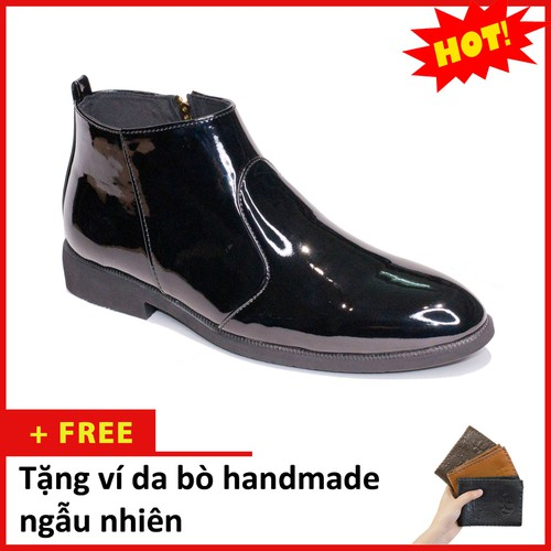 Giày chelsea boot nam cổ khóa da bóng màu đen - đế chắc chắn, thiết kế trẻ trung, sang trọng - hợp thời trang - dễ phối với nhiều loại trang phục khác nhau, đảm bảo chất lượng và giá tốt nhận hàng tha