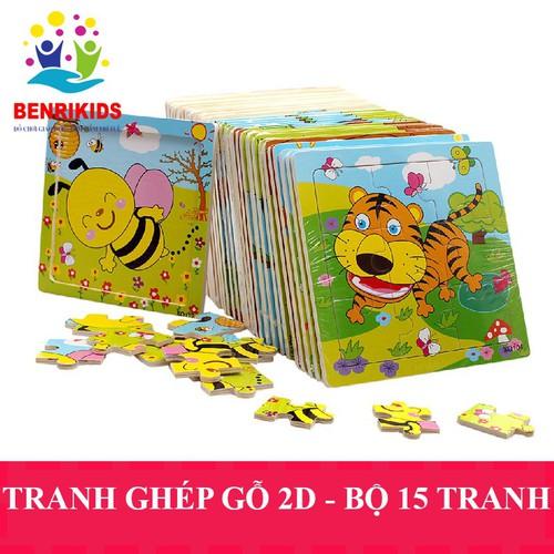 Combo 15 tranh ghép gỗ 2d benrikids chủ đề ngẫu nhiên