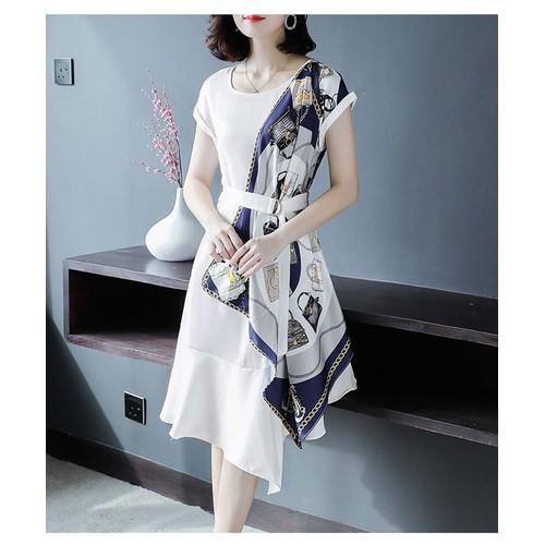 Đầm trắng phối lụa sang trọng có size lớn xxx