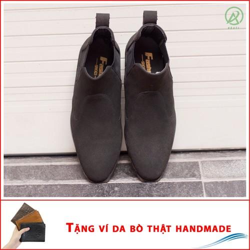 Giày chelsea boot cổ chun da búc màu đen cực đẹp - phong cách đế được khâu chắc chắn - buckden-ví+cb520-lc