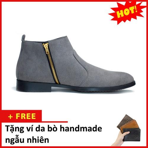 Giày chelsea boot nam cổ khóa da búc màu xám - đế chắc chắn, thiết kế trẻ trung, sang trọng - hợp thời trang - dễ phối với nhiều loại trang phục khác nhau, đảm bảo chất lượng và giá tốt nhận hàng than