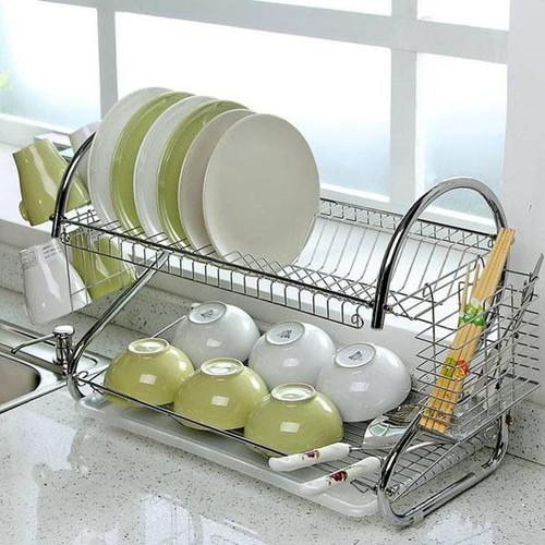 Kệ úp bát đĩa inox 2 tầng - kệ úp chén đĩa tiện dụng