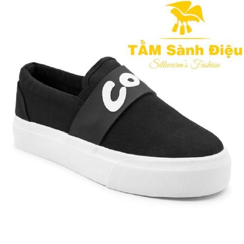Slip on nữ - giày lười nữ - giày mọi nữ tsd s0069 bằng vải đế bệt 8746 - đế thấp màu đen - đế bằng trơn phối sọc