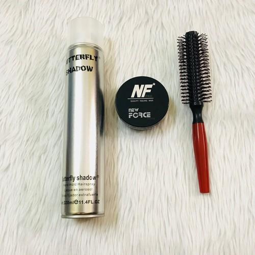 [ tặng lược ] combo sáp vuốt tóc new force + gôm butterfly + lược tròn