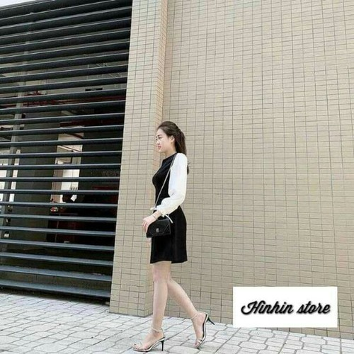 Đầm kate voan nữ đen trắng