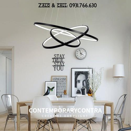 Đèn thả trần phòng khách đẹp khung vàng có điều khiển 3 ánh sáng 40x60x80
