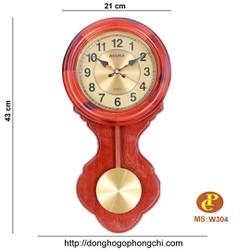 đồng hồ gỗ treo tường quả lắc W-304