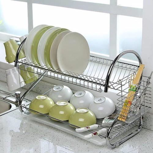 Giá úp bát đĩa 2 tầng inox có khay hứng nước tiện dụng
