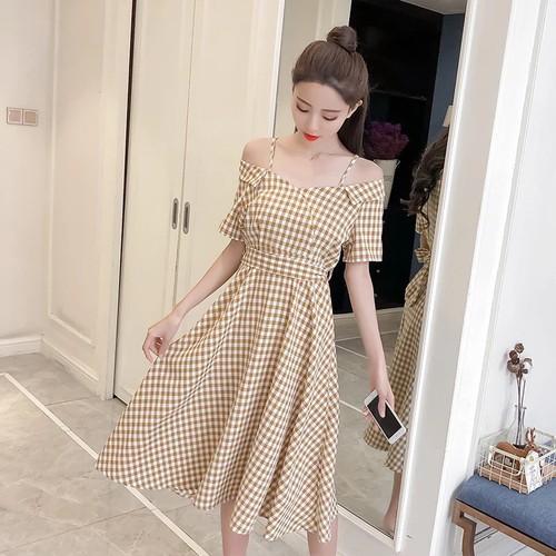 Đầm xòe caro thời trang nữ c78